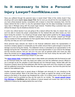 Is it necessary to hire a Personal Injury Lawyer-hanfliklaw.com