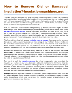How to Remove Old or Damaged Insulation-insulationmachines.net