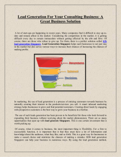 Lead Generation For Your Consulting Business
