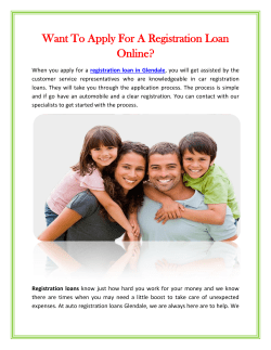 Want To Apply For A Registration Loan Online