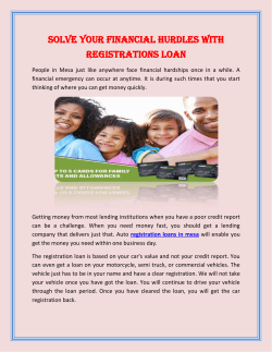 Solve Your Financial Hurdles with Registrations Loan