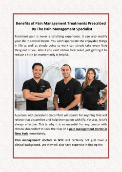 Benefits of Pain Management Treatments Prescribed By The Pain Management Specialist